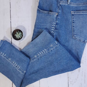 Loft Modern Skinny Crop With Embroidery